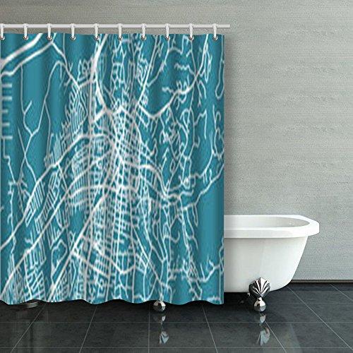 Santa Fe Shower Curtain Hooks - Detailed Map Santa Fe Scale Design Design Shower Curtains Custom 60Wx72L Inch Waterproof Polyester Fabric Home Bathroom Decor Bath Decorative Curtain