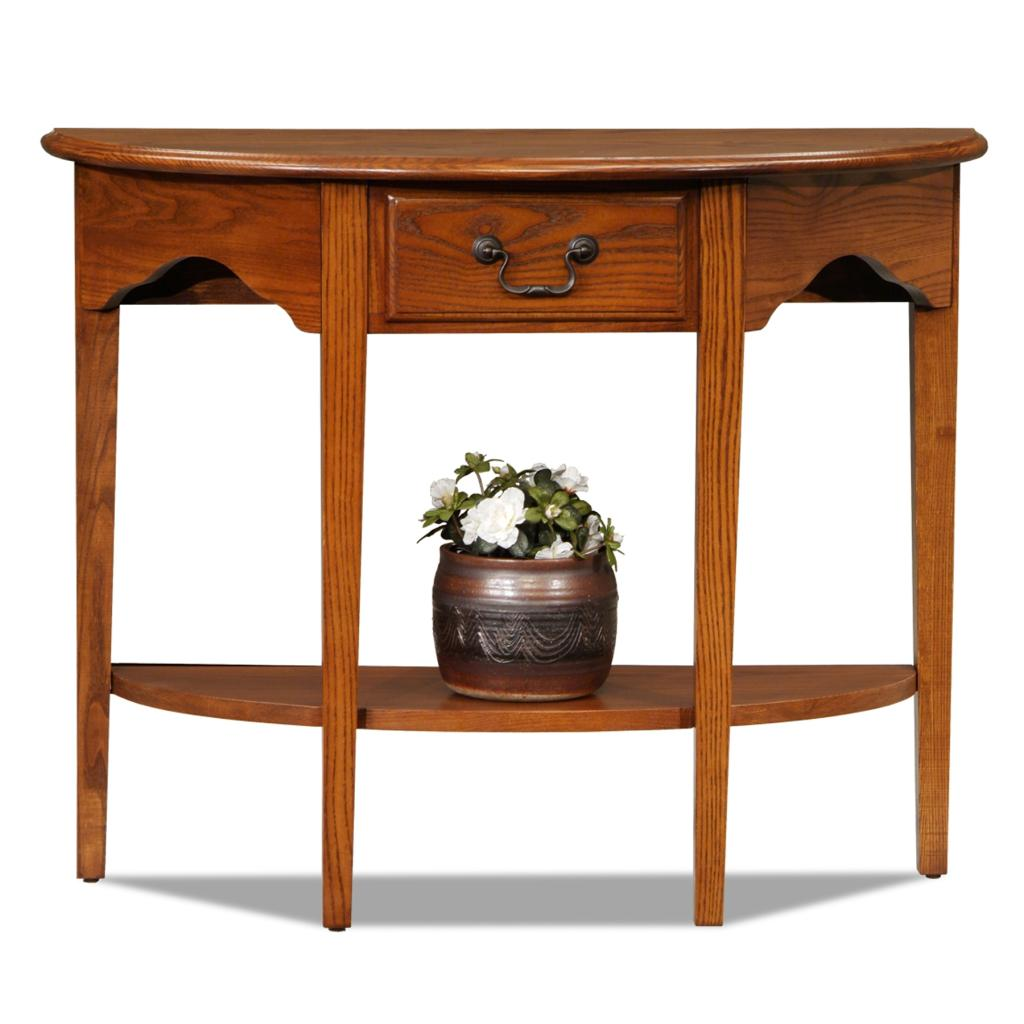 Leick chair side end table medium oak finish for Demilune console table with drawers
