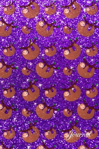 Journal: Faux Purple Glitter Sloth Notebook -