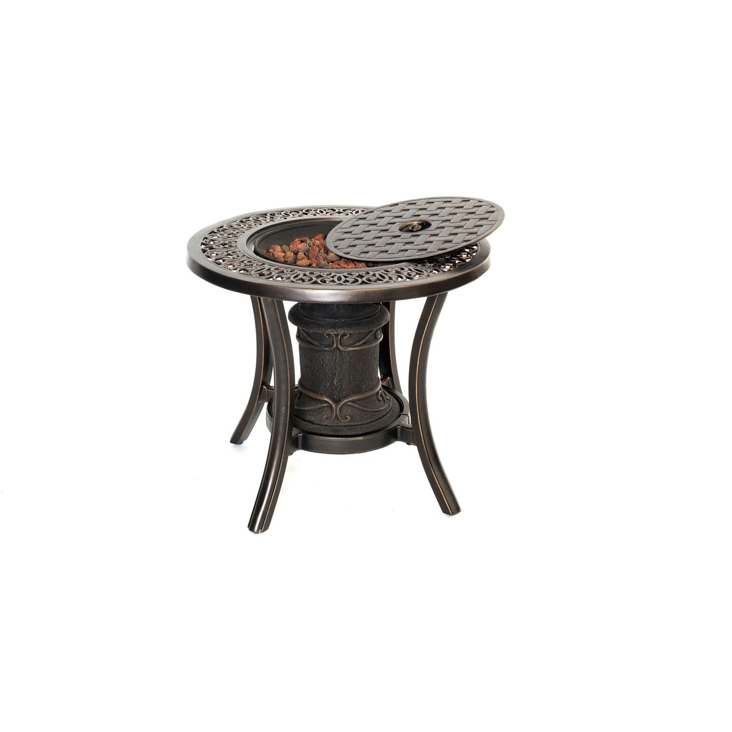 Amazon round side table - Amazon Com Hanover Tradfireurn 10 000 Btu Fire Pit Side Table Patio Lawn Garden