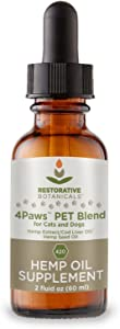 Restorative Botanicals Organic Hemp Oil Extract for Dogs and Cats - 2 oz - Muscle and Joint Relief - Hemp Pet Blend (420 mg) with Cod Liver Oil – Helps with Stress, Anxiety, Pain