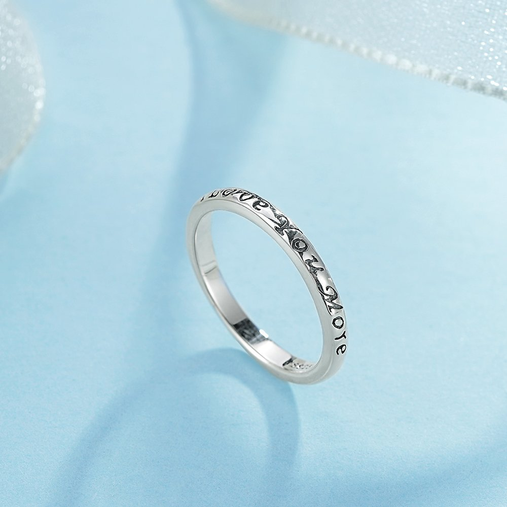 Tongzhe 3mm I Love You More Wedding Band Ring in Antique Sterling Silver 925 with US Size 6 by Tongzhe (Image #5)