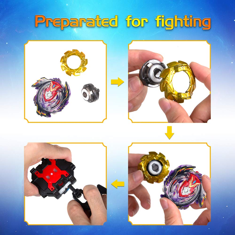 Anear Kampfkreisel Set 4D Fusion Modell Metall Masters Beschleunigungslauncher Speed Kreisel Mit Zieh-Sender Tolles Kinder Spielzeug Geschenk