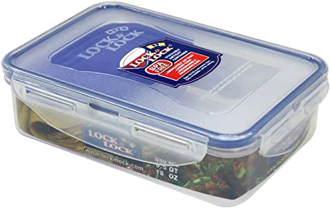 Lock & Lock Classic Stackable Airtight Rectangle Food Container, 550ML
