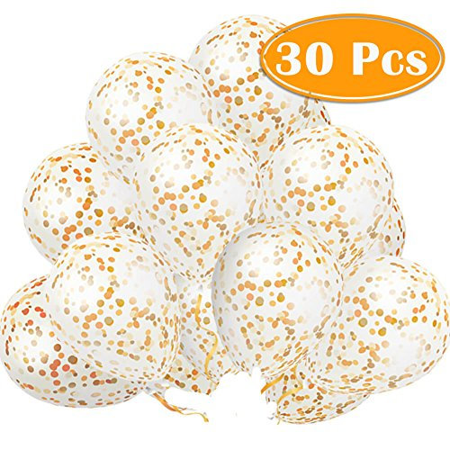 PAXCOO 30 Pcs 12 Gold Confetti Balloons for Party Decoration (Confetti Has Been Put into The Balloons)