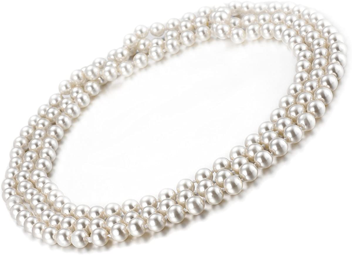 Faux pearl necklace high quality with sterling silver lock; pearl jewelry; classical pearl necklace; gift for her; chic necklace