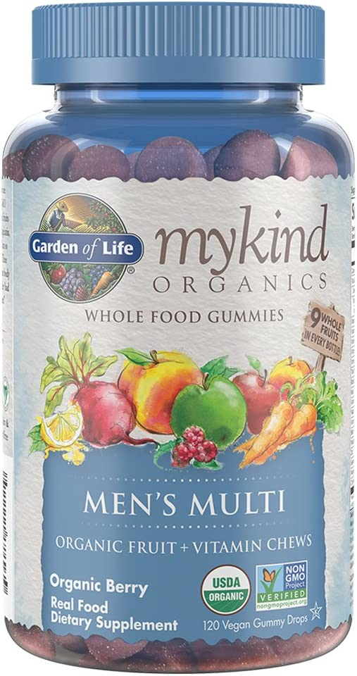Garden of Life – mykind Organics Men s Gummy Vitamins – Berry – Certified Organic, Non-GMO, Vegan, Kosher Complete Multi – Methyl B12, C D3 – Gluten, Soy Dairy Free – 120 Real Fruit Chew Gummies