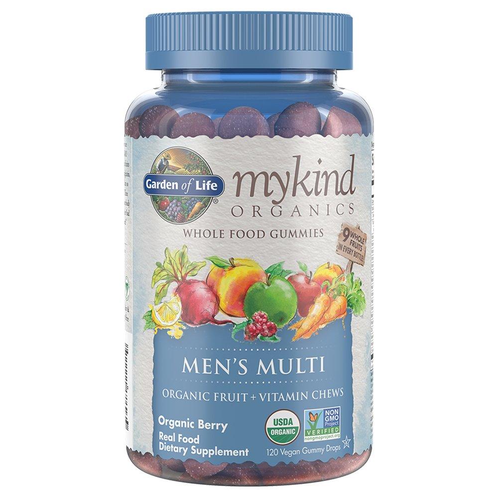 Garden of Life - mykind Organics Men's Gummy Vitamins - Berry - Certified Organic, Non-GMO, Vegan, Kosher Complete Multi - Methyl B12, C & D3 - Gluten, Soy & Dairy Free - 120 Real Fruit Chew Gummies by Garden of Life