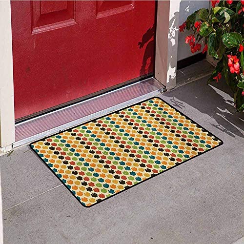 Jinguizi Owls Commercial Grade Entrance mat Retro Styled Colorful Animal Silhouettes with Grunge Display Halloween Inspirations for entrances garages patios W23.6 x L35.4 Inch Multicolor ()