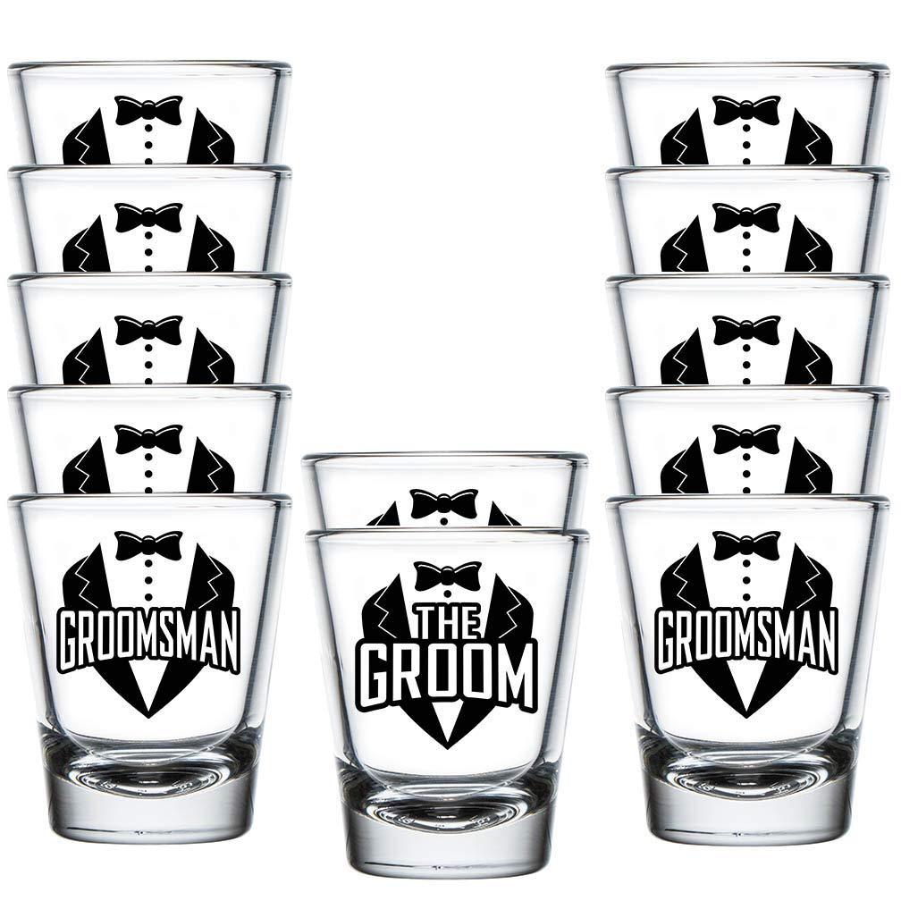Shop4Ever The Groom and Groomsman Tuxedo Shot Glasses ~ Bachelor Party Favors ~ (12 Pk, Groomsman Tux)