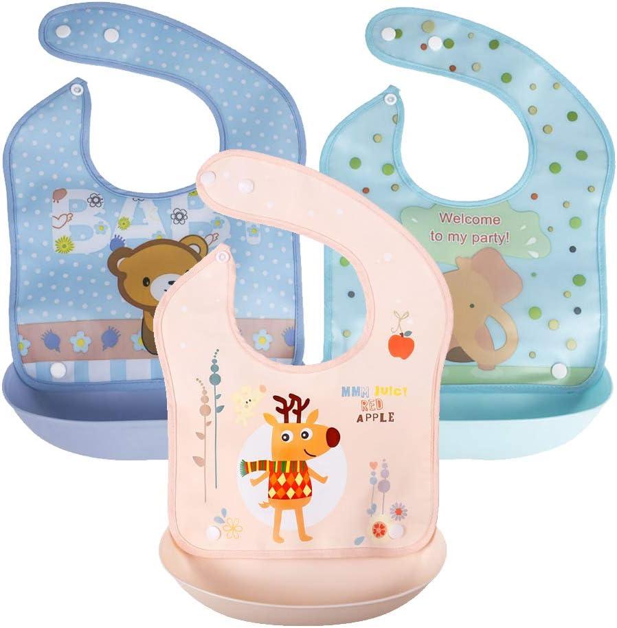 KIWILL 3 Pack baberos suave de silicona impermeables para bebés ...
