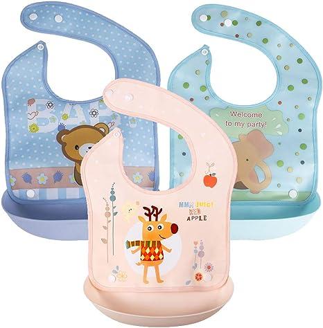 KIWILL 3 Pack baberos suave de silicona impermeables para bebés pequeños (rosa/azul/Verde claro): Amazon.es: Bebé