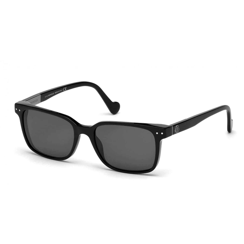 MONCLER Unisex Adults' ML0011 01A 54 Sunglasses, Black (Nero Lucido/Fumo)
