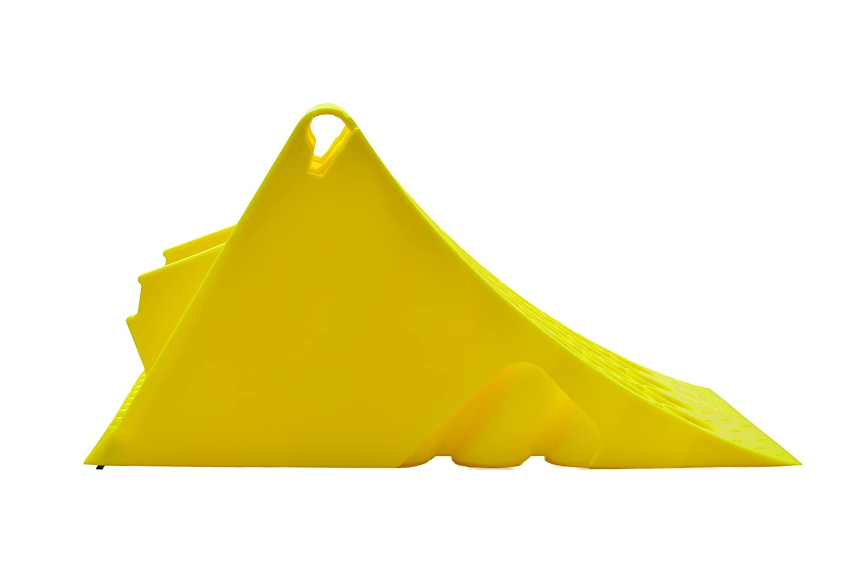Cuneo Bloccaruota giallo in plastica con protezione antiscivolo per camion o autobus zincato Solo supporto !!