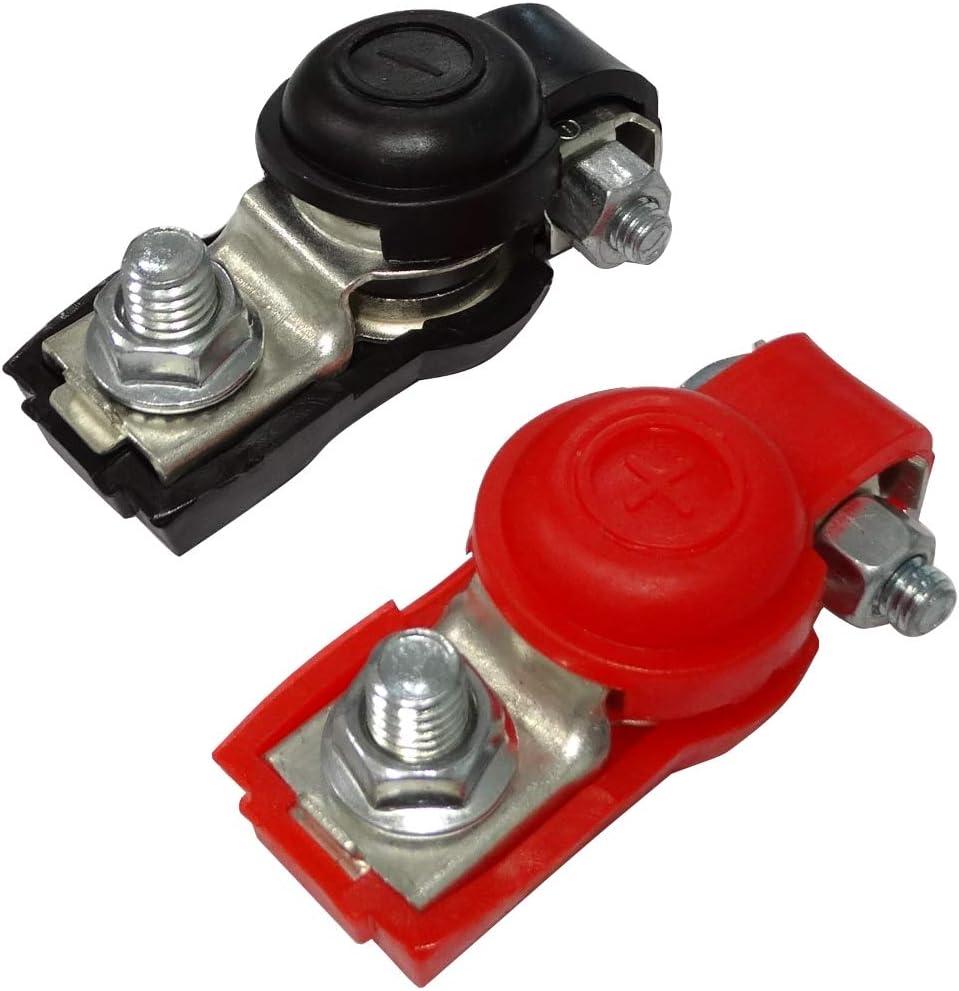 AERZETIX Juego de 2 terminales de bater/ía positivo y negativo con tapa para coche C41170