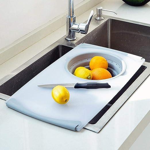 MondayUp - Tabla de cortar 2 en 1 sobre el fregadero, universal, innovadora y multifunción, tabla de cortar para fregadero, herramientas de cocina, 50 ...