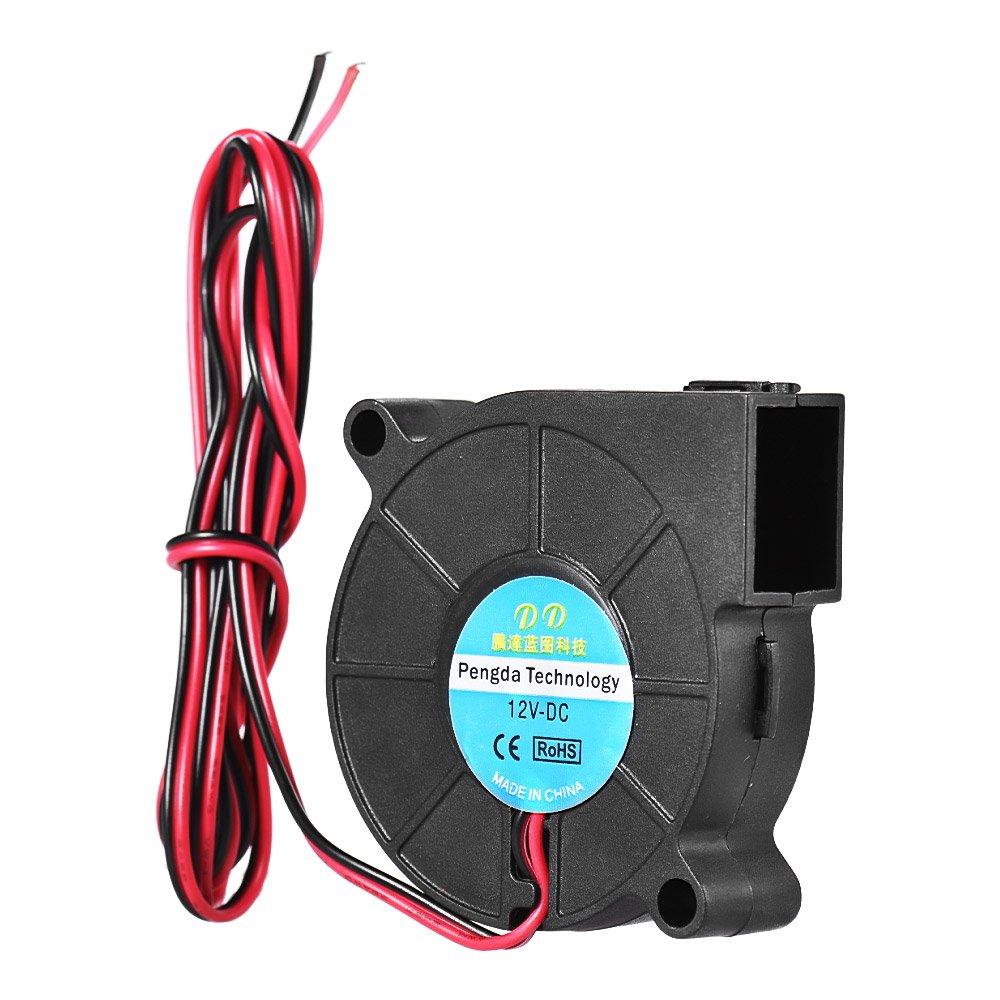 Aibecy DC 12V 5015 Ventilateur Radial Turbo Ventilateur de refroidissement Extrudeuse à extrémité chaude 50 * 50 * 15mm avec câble de 90cm pour l'imprimante 3D RepRap i3