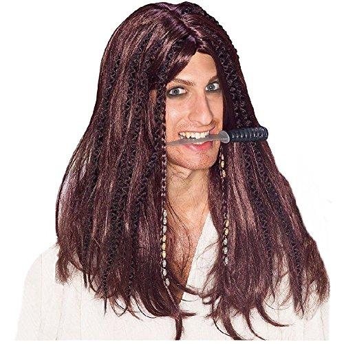 Swashbuckler Wig for Men Adult Pirate Halloween Fancy Dress Costume Accessory