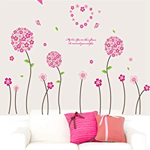Pink Flower Wall Stickers Wall Decal Mural Home Decor