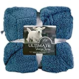 YOUSA Warm Sherpa Throw Blanket Reversible Fuzzy All Season Blanket for Bed or Couch 79''x90''-Midnight Blue