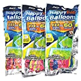 Water Balloons, 3 Bags 9 Bunches 333 Balloons Multicolored Self-Tie Quick Refill Kits for Kids & Adults Summer Splash Fun Water Fight Swimming Pool Party