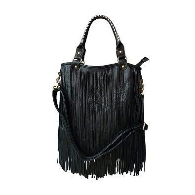 dd3f53f9ca5e LYDC Black Fringe Tassel Shoulder Bag F Leather Designer Punk Saddle  Clebrity (Black)  Amazon.co.uk  Shoes   Bags