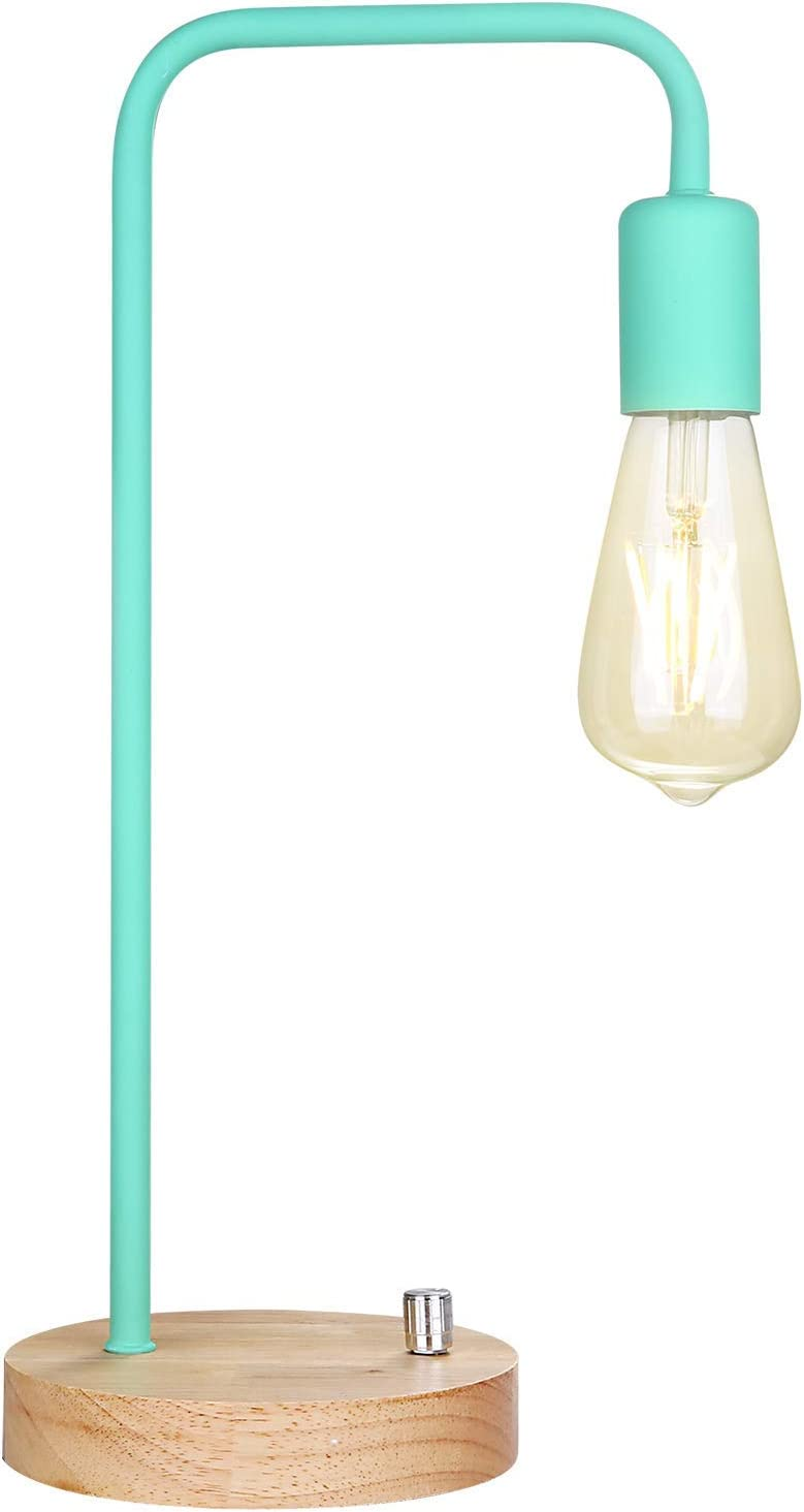 Minimalist Table Lamp, Dimmable Nightstand Desk Lamp, Bedside Lamp Industrial Style with Wood Base (Mint Green)