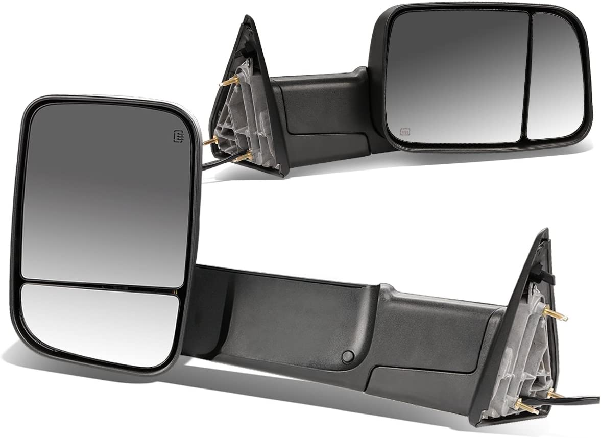 Replacement for 09-16 Dodge RAM Pair of Black Powered + Heated Glass + Foldable Side Towing Mirrors