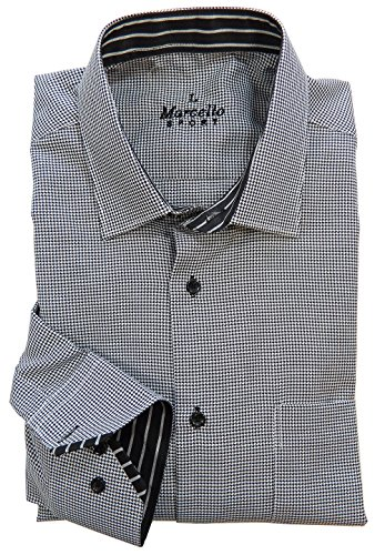 Marcello Sport Long Sleeve Dress Shirt for Men - Casual and Formal Houndstooth (Black, X-Large) - Houndstooth Long Sleeve Sport Shirt