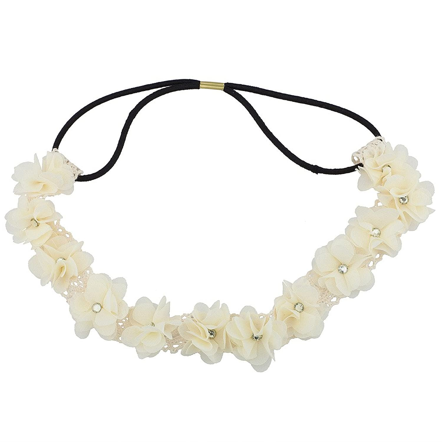 Lux Accessories White Floral Flower Crystal Lace Stretch Headband