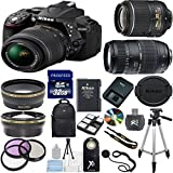 Nikon D5300 24.2 MP CMOS Digital SLR with 18-55mm f/3.5-5.6 AF-S DX VR NIKKOR Zoom Lens (Black) + Tamron 70-300mm Zoom Lens + Lens Cap Keeper + .43x Wide Angle Lens + 2.2x Telephoto Lens + High Power Slave Flash + Wireless Remote + Deluxe 3pc Filter Kit (UV + CPL + FLD) + Backpack + 32GB Complete Accessory Bundle
