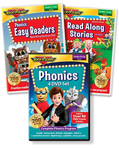 ROCK N LEARN Reading DVD Collection - Phonics 4-DVD Set, Phonics Easy Readers, Read Along Stories