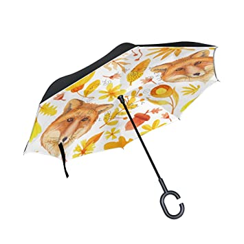 BENNIGIRY Fox - Paraguas invertido, Doble Capa, Plegable, Resistente al Viento, Protección