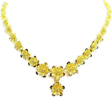 24K Gold Plated Flower Necklace Hematite Stones Necklace Gold Lariat Necklace Bohemian Necklace