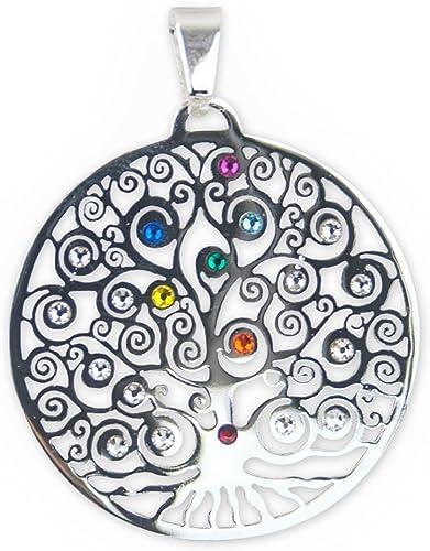 Bijoux Pendentif Yggdrasil Arbre de Vie en acier inoxydable Argent avec  Cristaux Swarovski, Ø 35 mm, arbre du monde