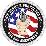 gun bumper stickers - This Vehicle Protected by the 2nd Amendment with Flag; Round Bumper Sticker