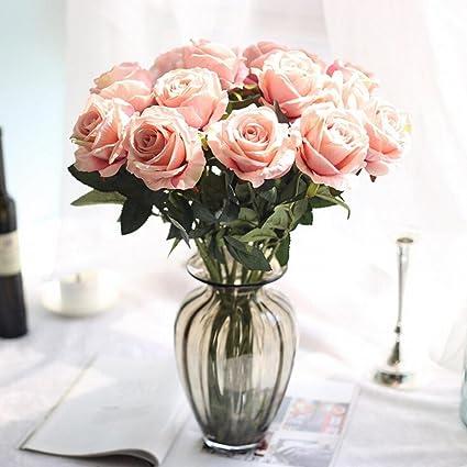 Moonuy Artificielle Faux Roses Flanelle La Mariee Fleur Bouquet De