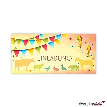 15 Tierisch Coole Einladungskarten U201eMotiv Bauernhofu201c , DIN Lang Karte (210