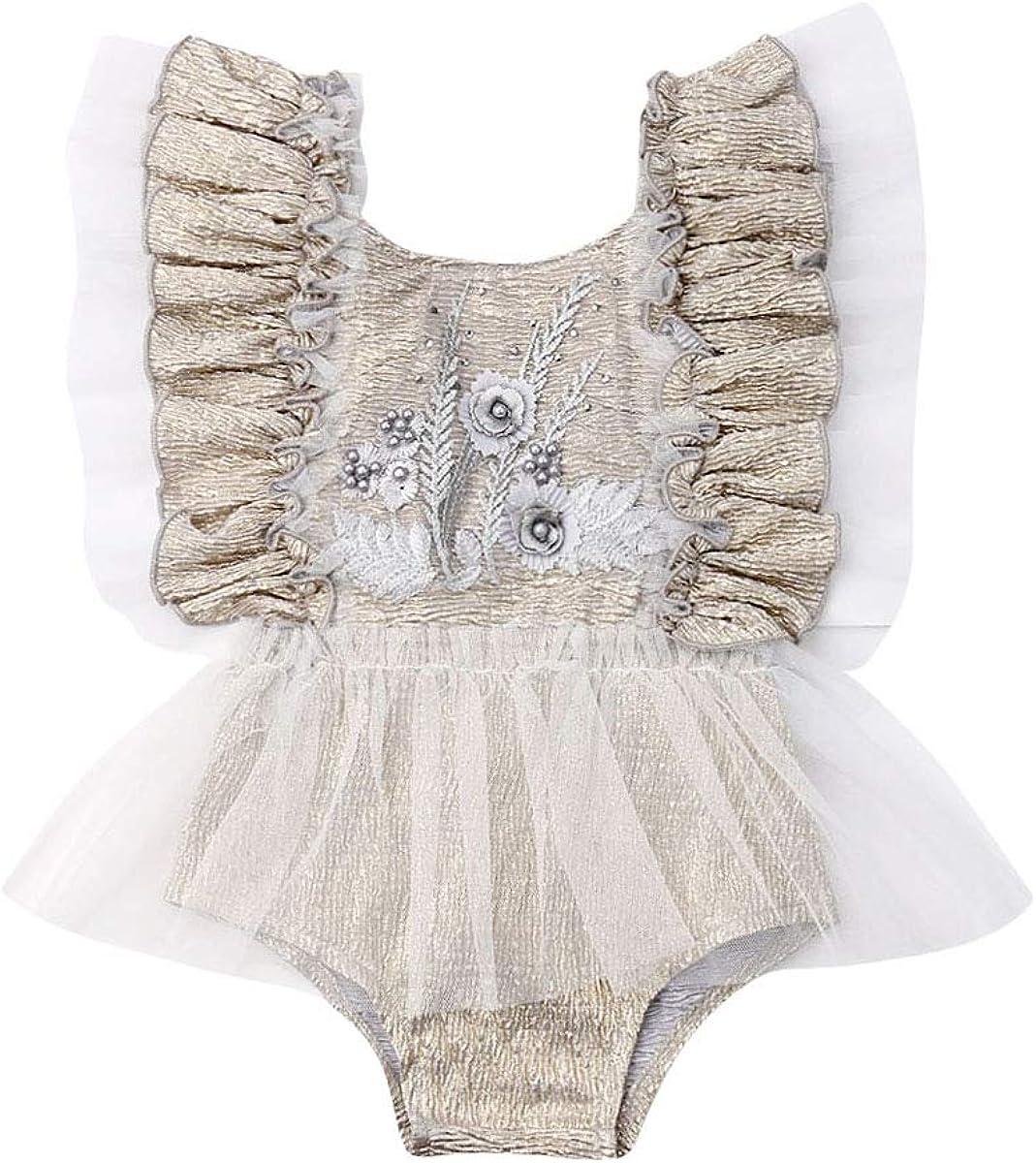 Ambabe Newborn Baby Girl Romper White Long Sleeves//Ruffle Sleeveless Lace Floral Tutu Dress Bodysuit Outfits