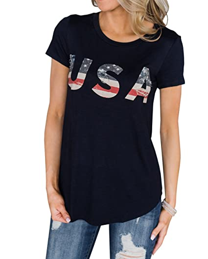 4e6112058a6 Image Unavailable. Image not available for. Color  Womens USA American Flag  Printed Summer T Shirts Short Sleeve Graphic ...
