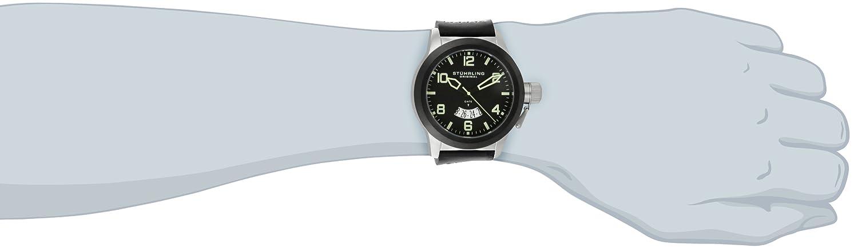 Stuhrling Original Men s 427.33D51 Classic Traveler Pilot Swiss Quartz Date Black Leather Strap Watch