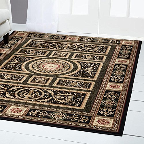 Home Dynamix Regency Talula Area Rug | Traditional Dining Room Rug | Timeless Geometric Pattern and Printed Boarder | Black, Beige, Ivory 23
