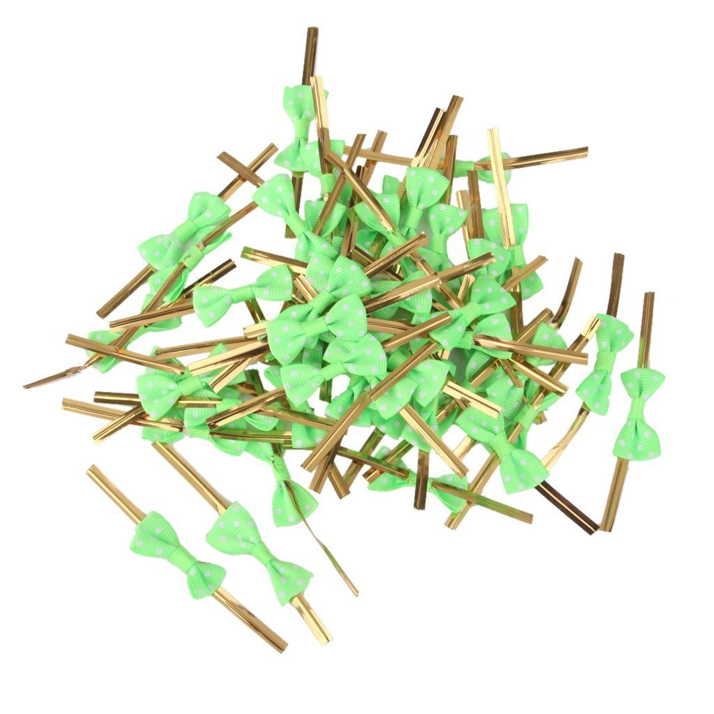 Hilai Approx.50pcs Rose Bowknot Gift Wrapping Metallic Twist Ties for Party Bakery Cookie Candy Bags Green