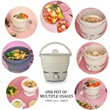 Foldable Electric Hot Pot, Leegoal Multifunctional Mini Electric Cooker Collapsible Portable Noodles Cooker for Dormitory,Home, Traveling Outdoor