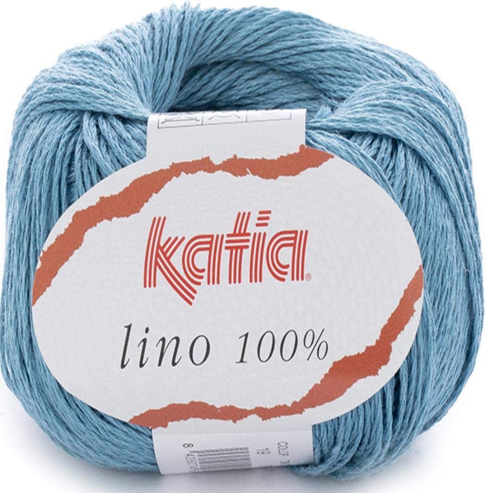 19 Lanas Katia Lino Ovillo de Color Azul Cod