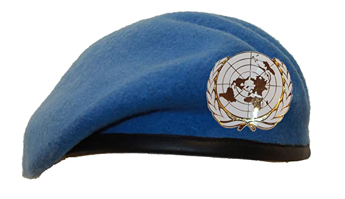 ed6c8d5aa4913 United Nations UN Beret + Badge Sky Light Blue Army Military  Amazon.co.uk   Clothing