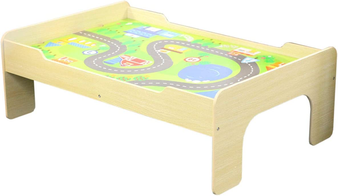 Grass or Road Design Age 3+ Wooden Play Table with Reversible Top
