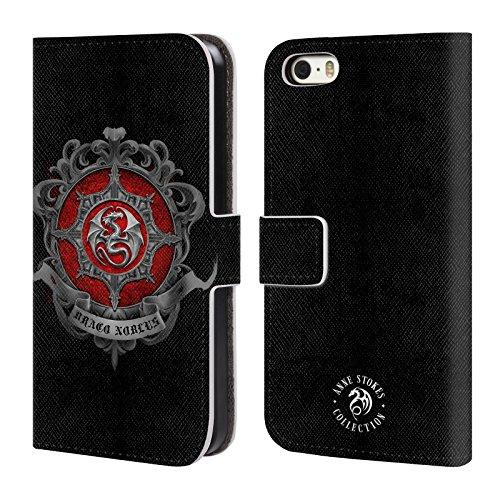 Officiel Anne Stokes Dragon Crest Feu Tribal Étui Coque De Livre En Cuir Pour Apple iPhone 5 / 5s / SE