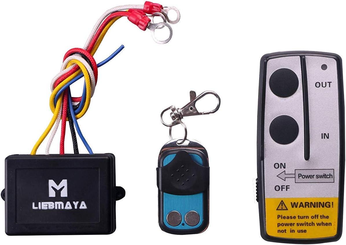 LIEBMAYA Kit de Control Remoto inalámbrico para camión Jeep ATV Winch 12V