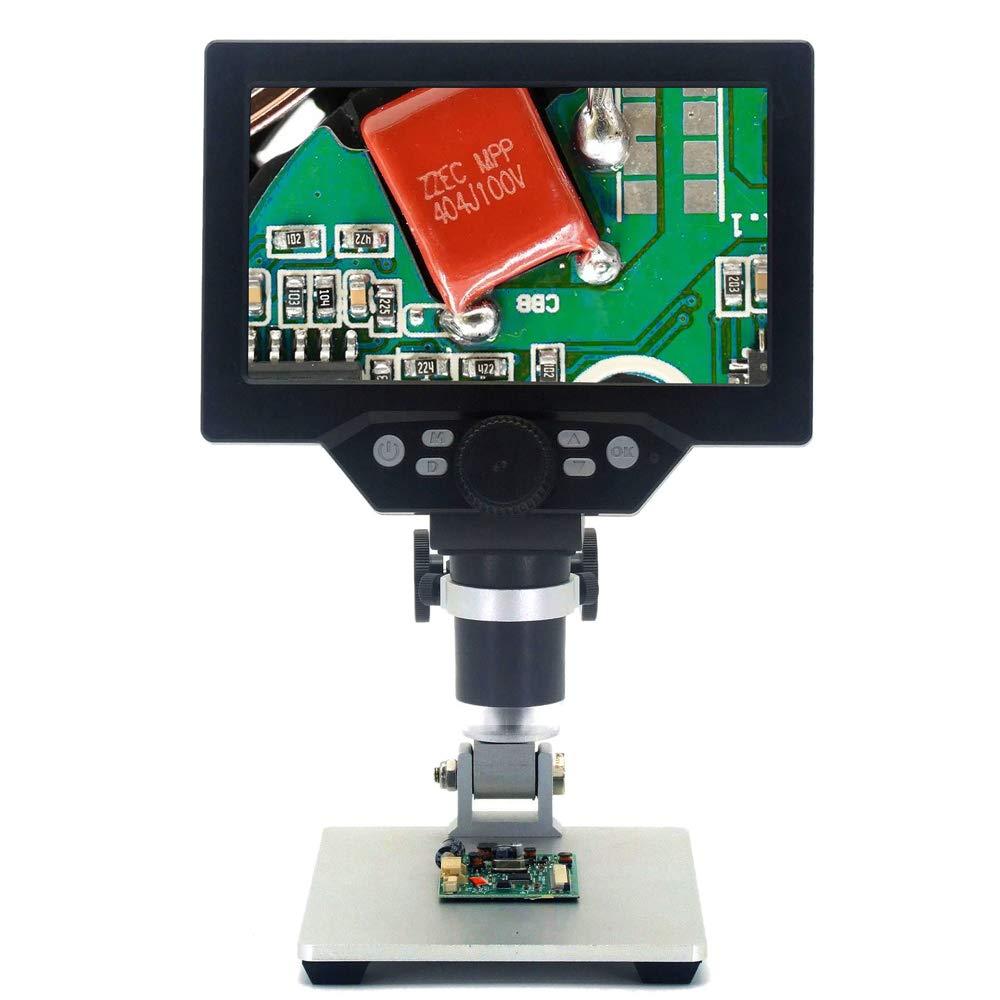 Microscopio digitale professionale angolo regolabile 12MP 1-1200X zoom continuo,microscopio elettronico con 7 pollici schermo,telecamera,video,LED para saldatura riparazione G1200